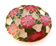 Large Red Flower Cloisonne Enamel Brooch.